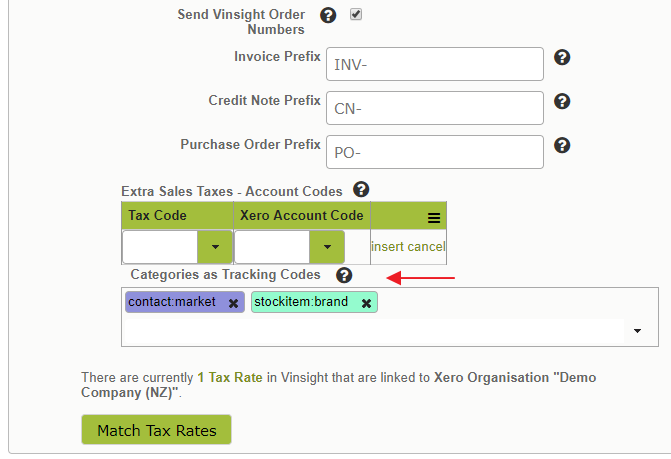 xero-tracking-categories-vinsight-addon-configured